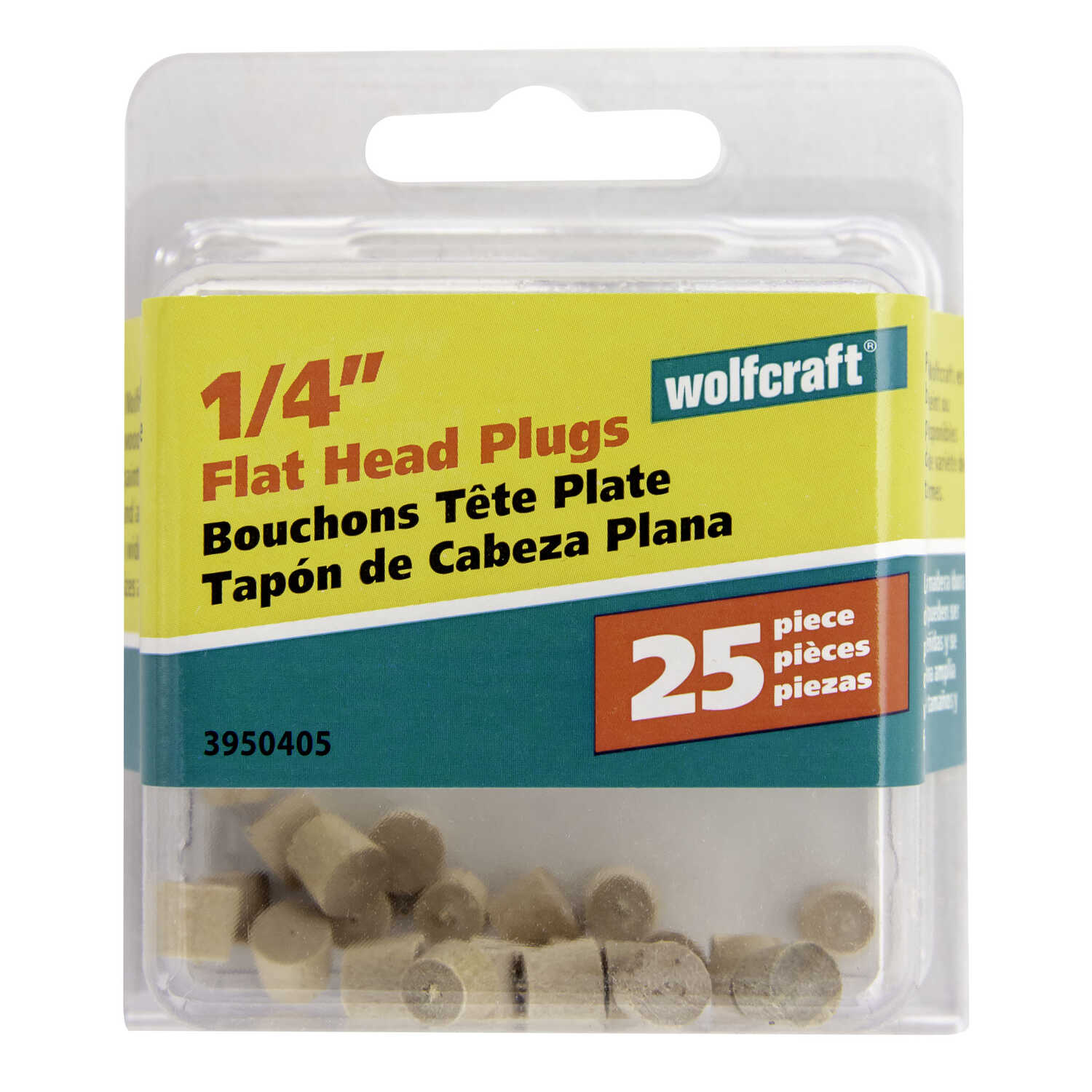 Wolfcraft  Flat  Birch  Flat Head Plug  1/4 in. Dia. x 0.225  L 25 pk Natural