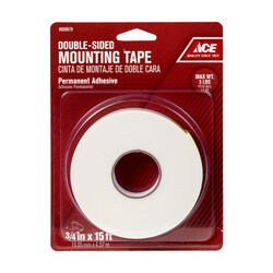 Ace  Double Sided 3/4 in. W x 15 ft. L Mounting Tape  White