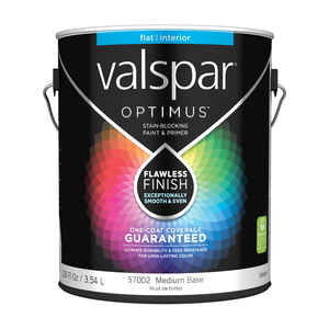 Valspar  Optimus  Flat  Tintable  Medium Base  Acrylic Latex  Paint and Primer  Indoor  1 gal.