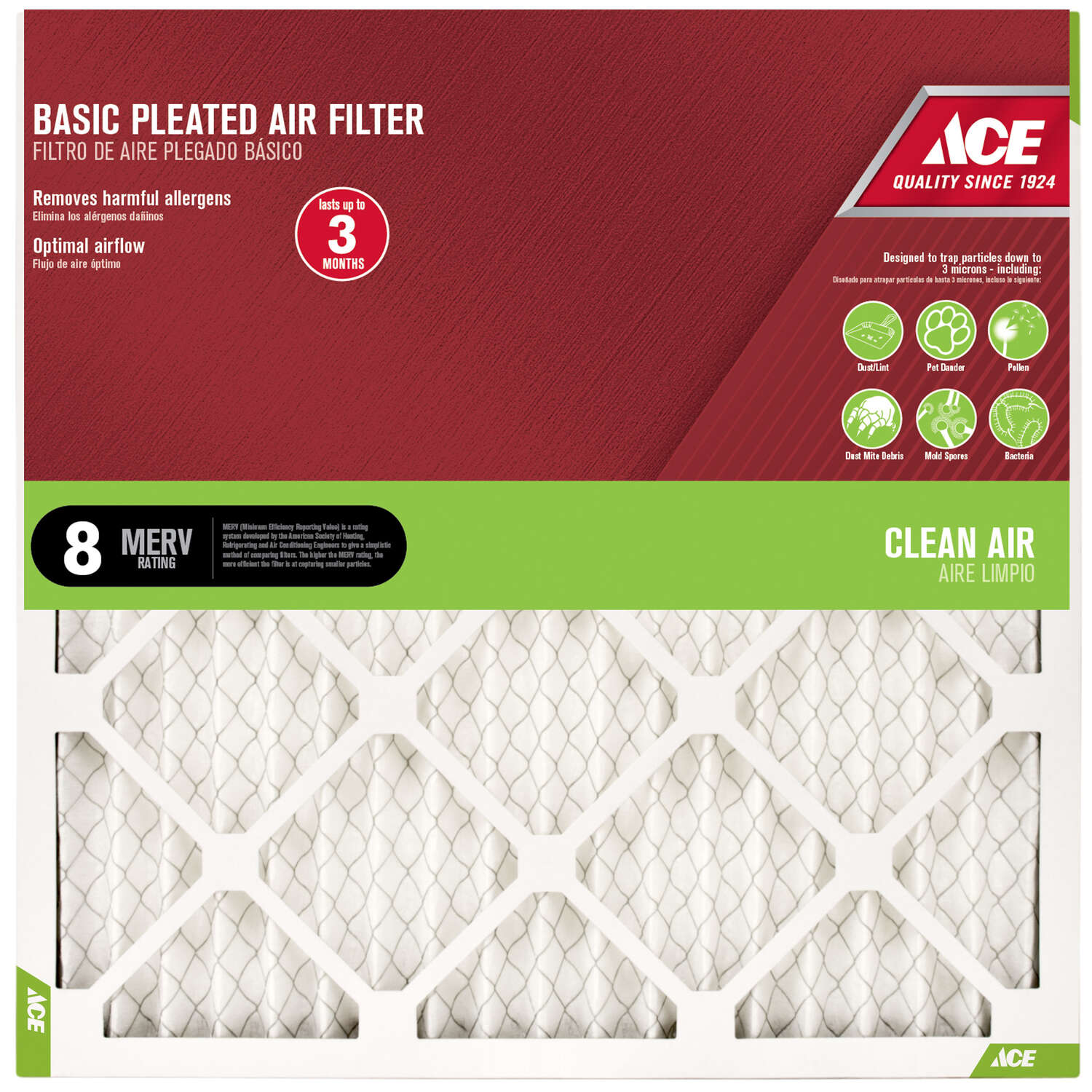 Ace 18 in. W x 18 in. H x 1 in. D Cotton 8 MERV Pleated Air Filter
