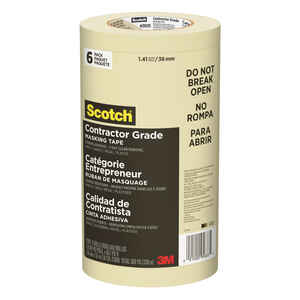 Scotch  60 yd. L x 1.41 in. W Masking Tape  6 pk Tan  High Strength