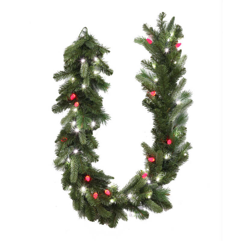 Celebrations  Prelit LED Garland  Green  6 ft. L Pure White/Red