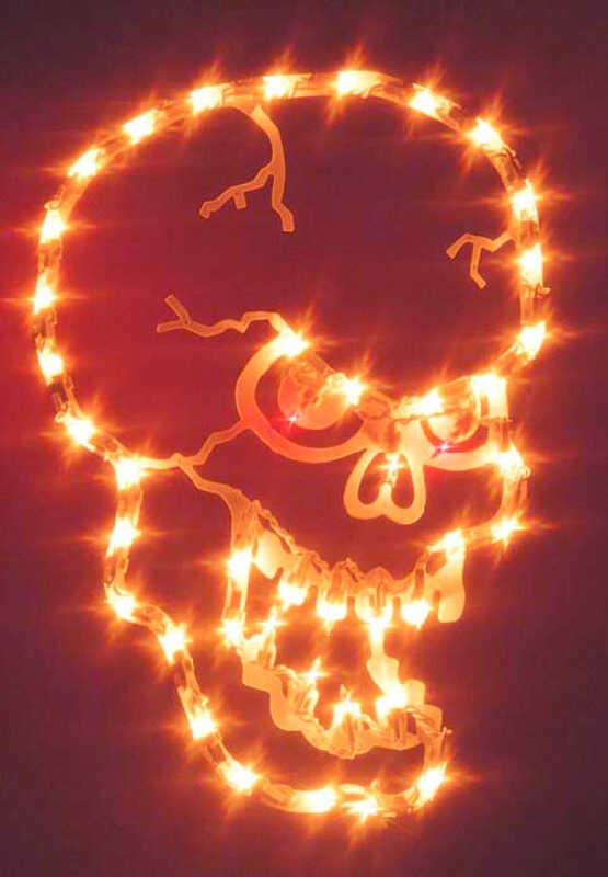 Impact Innovations  Small Skull Silhouette  Lighted Halloween Decoration  16 in. W