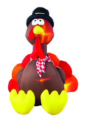 Gemmy  Airblown  Inflatable Turkey  Lighted white  Fall Decoration  72.05 in. H x 62.99 in. W 1 pk