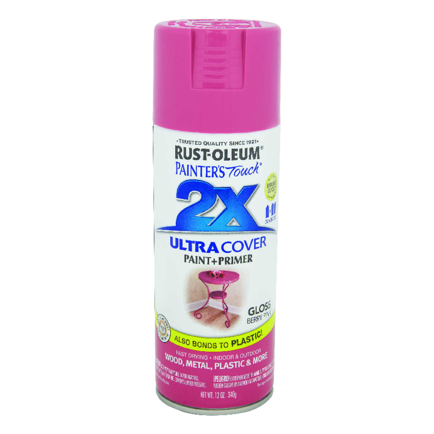 Rust-Oleum  Painter's Touch Ultra Cover  Gloss  Berry Pink  Spray Paint  12 oz.