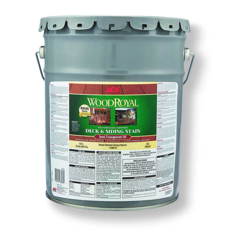 Ace  Wood Royal  Semi-Transparent  Natural Redwood  Penetrating Oil  Deck and Siding Stain  5 gal.