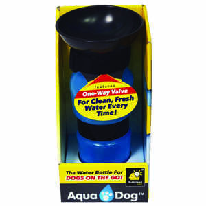 Aqua Dog  Blue  Plastic  16 oz. Portable Watering Bottle/Bowl  For Dog