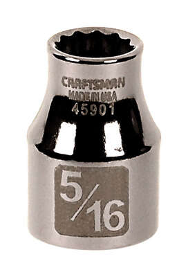 Craftsman  5/16 in.  x 3/8 in. drive  SAE  12 Point Standard  Socket  1 pc.