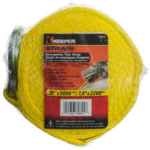 Keeper  2 in. W x 25 ft. L Yellow  Tow Strap  5000 lb. 1 pk