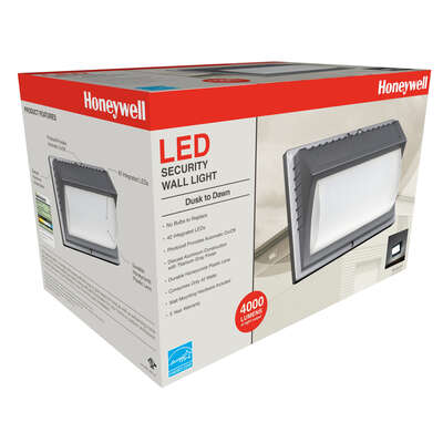 Honeywell  Dusk to Dawn  Hardwired  LED  Gray  Security Wall Light