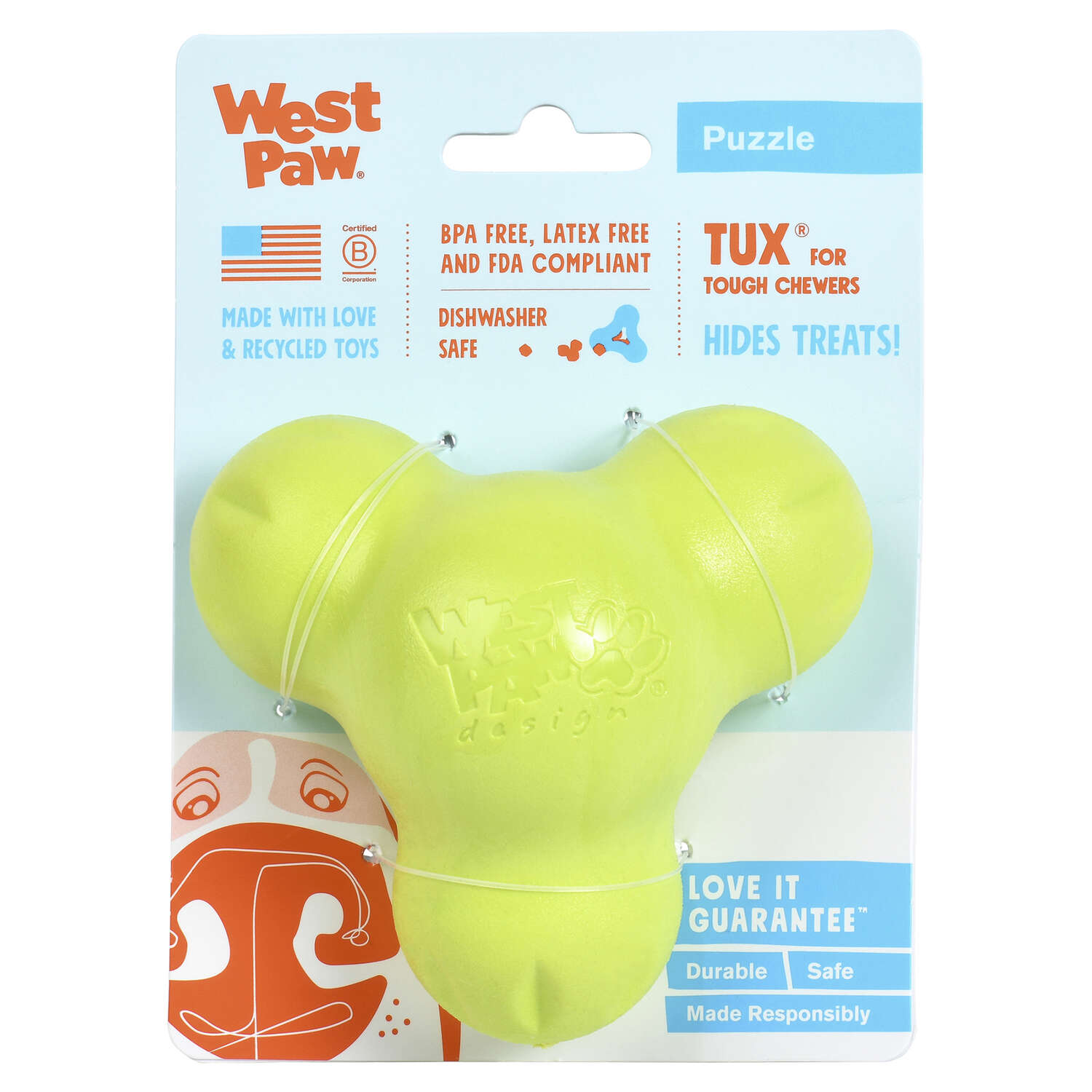 West Paw  Zogoflex  Green  Synthetic Rubber  Dog Treat Toy/Dispenser  Small  Tux Treat Toy