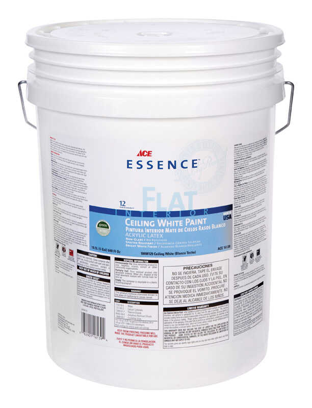 Ace  Essence  Flat  White  Acrylic Latex  Ceiling Paint  5 gal.