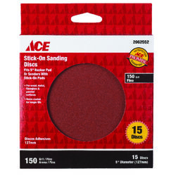Ace  5 in. Aluminum Oxide  Adhesive  Sanding Disc  150 Grit Fine  15 pk