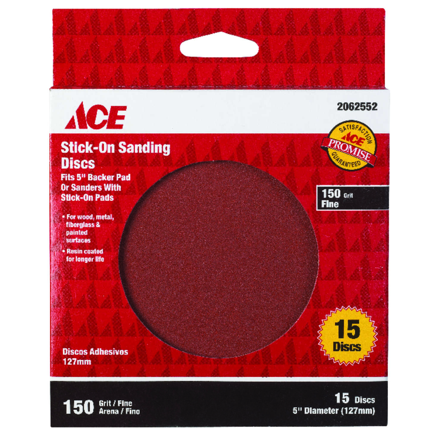 Ace  5 in. Adhesive  Sanding Disc  150 Grit 15 pk Aluminum Oxide  Fine