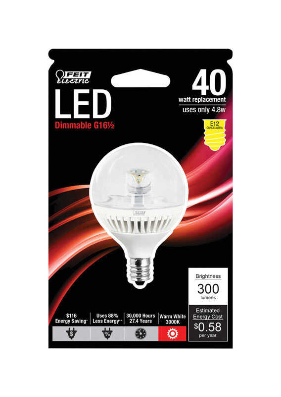 FEIT Electric  4.8 watts G16-1/2  LED Bulb  300 lumens Globe  Warm White  40 Watt Equivalence