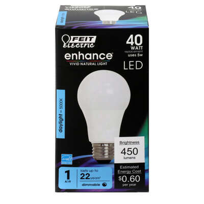 FEIT Electric  Ehnance  A19  E26 (Medium)  LED Bulb  Daylight  40 Watt Equivalence 1 pk