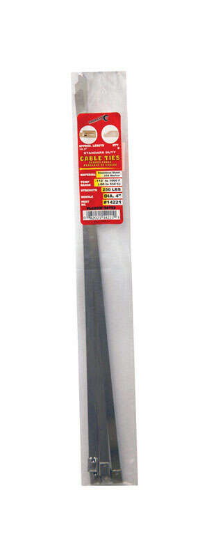 Tool City  14.2 in. L Stainless Steel  Cable Tie  5 pk