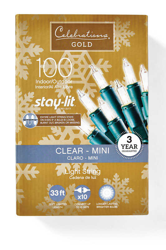 Celebrations  Staylit  Mini  Incandescent  Commercial Light Set  Clear  33 ft. 100 lights