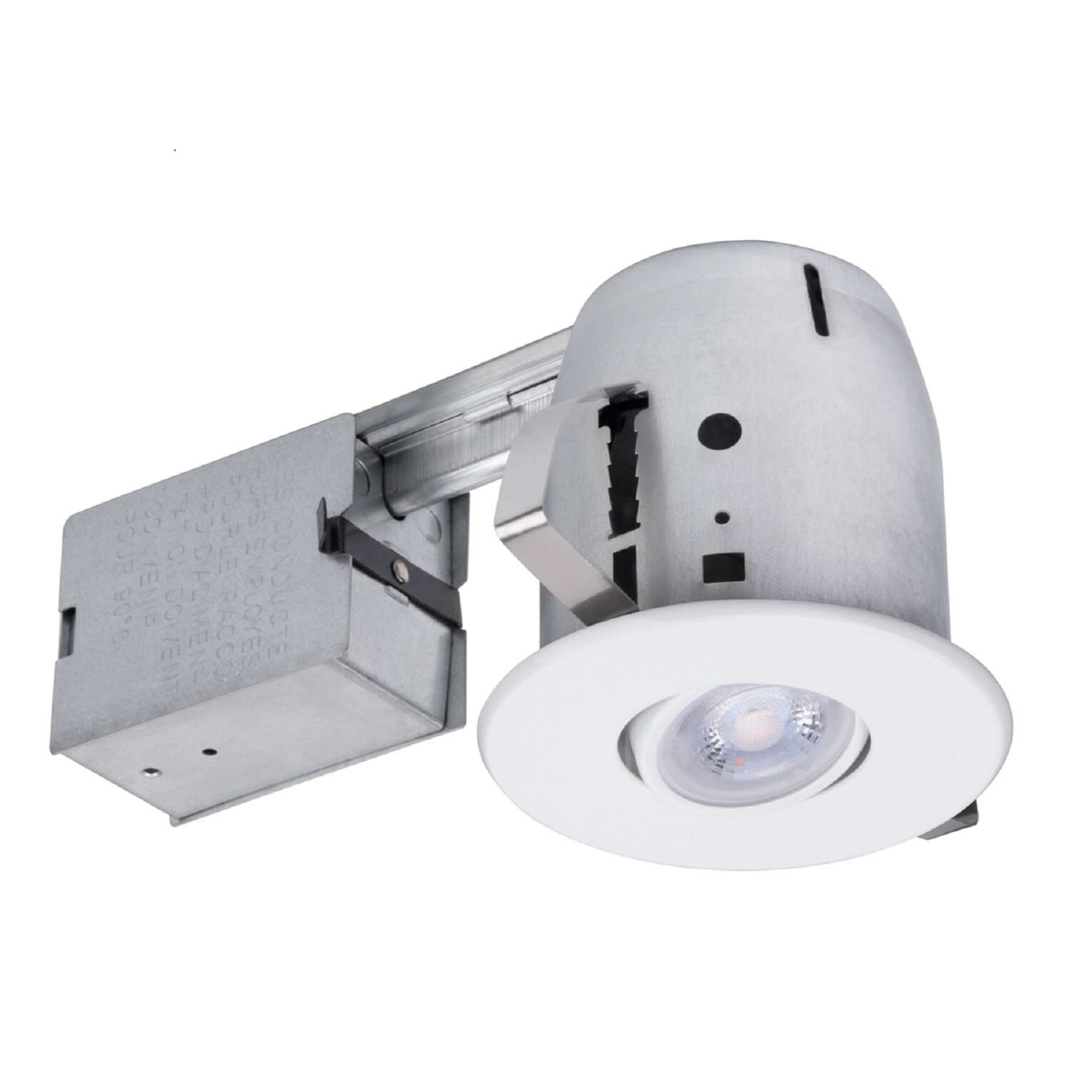 Globe Electric  LED Recessed Lighting Kit  White  4 in. W Metal  LED  Recessed Downlight  50 watt