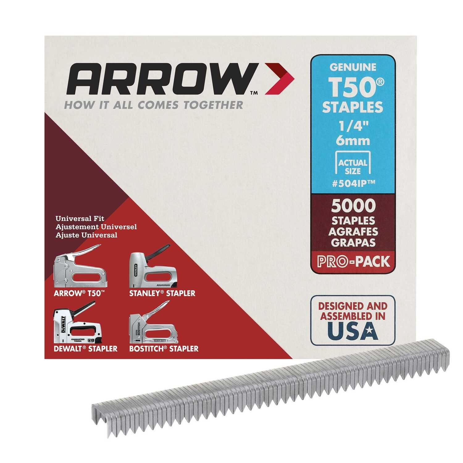 Arrow Fastener 1/4 in  L x 3/8 in  W Galvanized Steel Flat Crown