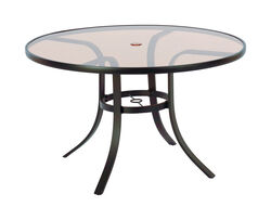 Living Accents  Glass Top  Brown  Round  Table