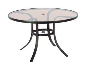 Living Accents  Glass Top  Brown  Heritage  Round  Dining Table