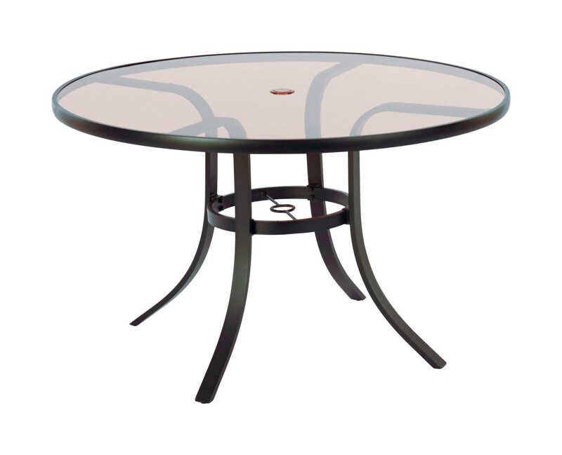 Living Accents  Glass Top  Brown  Round  Dining Table