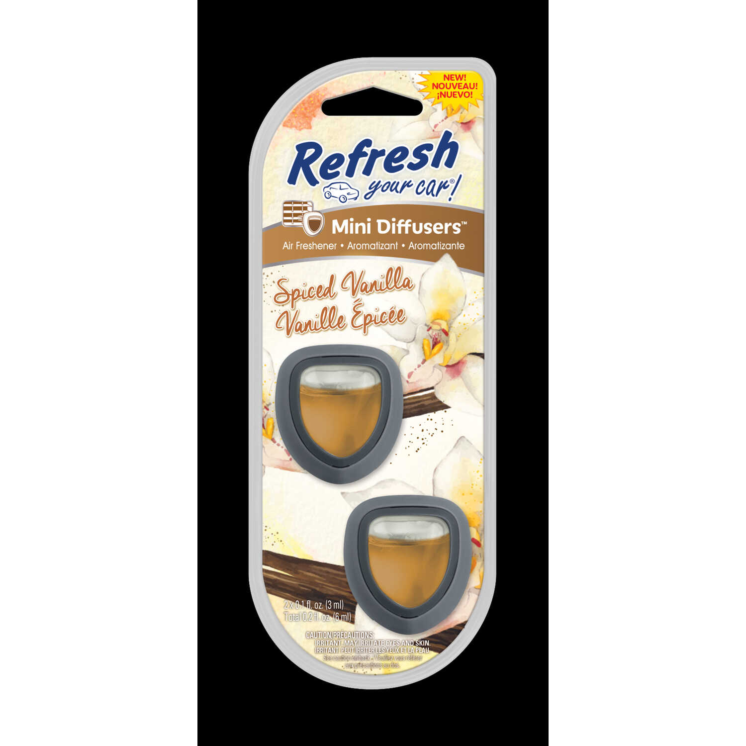 Refresh Your Car!  Mini Diffusers  Spiced Vanilla Scent Air Freshener  0.2 oz.