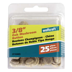 Wolfcraft  Round  Oak  Button Plug  3/8 in. Dia. x 0.3  L 25 pk Natural