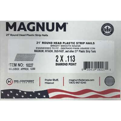 Magnum  2 in. Angled Strip  Nails  21 deg. Smooth Shank  6000 pk
