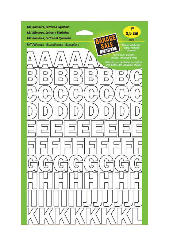 Hy-Ko  1 in. Vinyl  0-9, A-Z  White  Self-Adhesive  Letters and Numbers