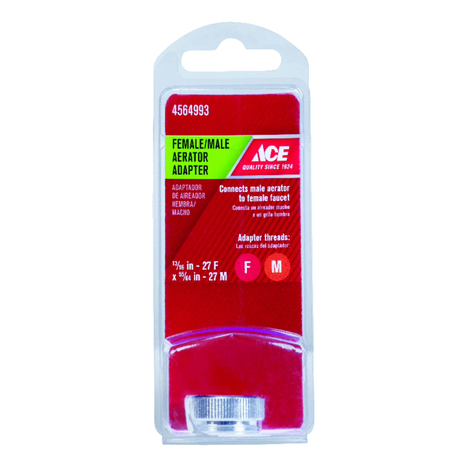 Ace  Aerator Adapter  55/64 in.  x 13/16 in.  Chrome
