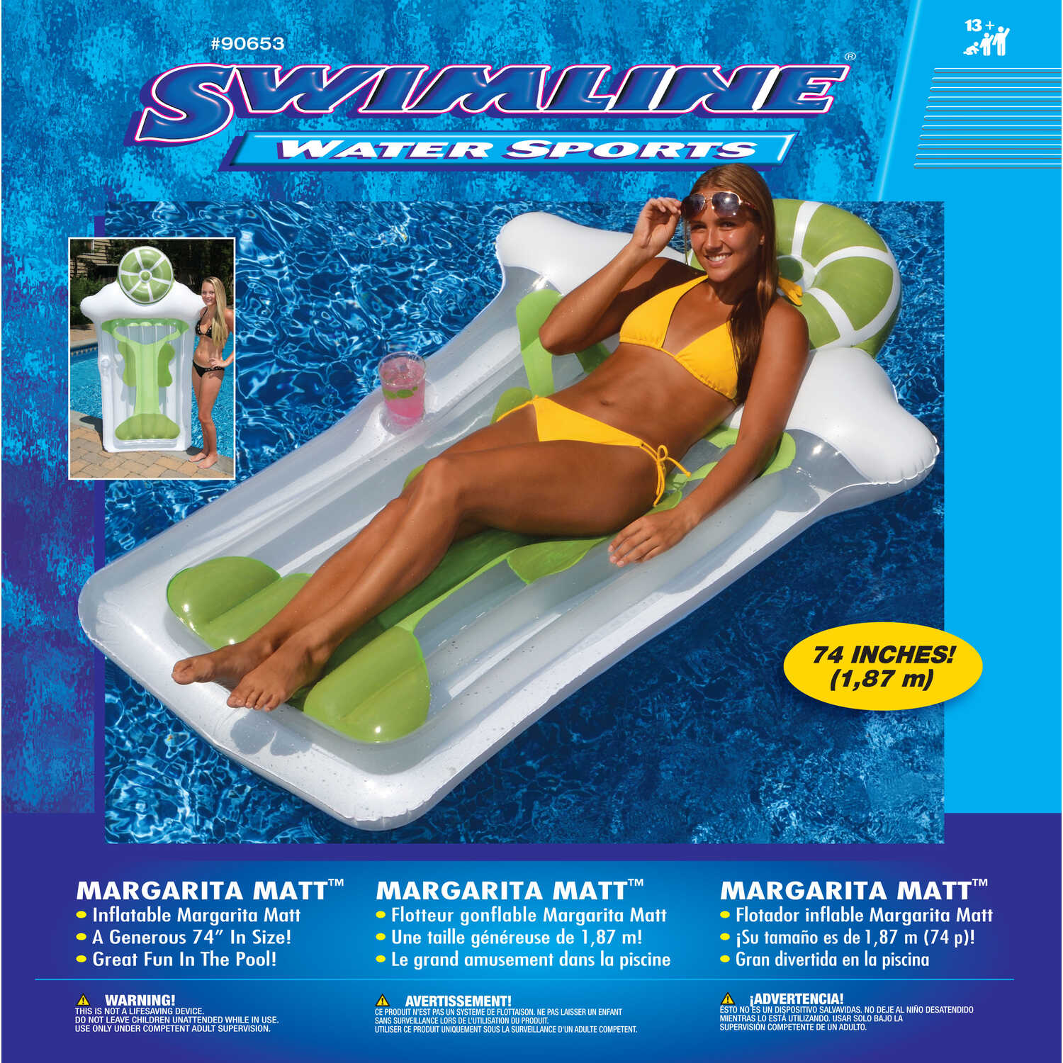 Swimline  Multicolored  Inflatable Pool Float  Vinyl