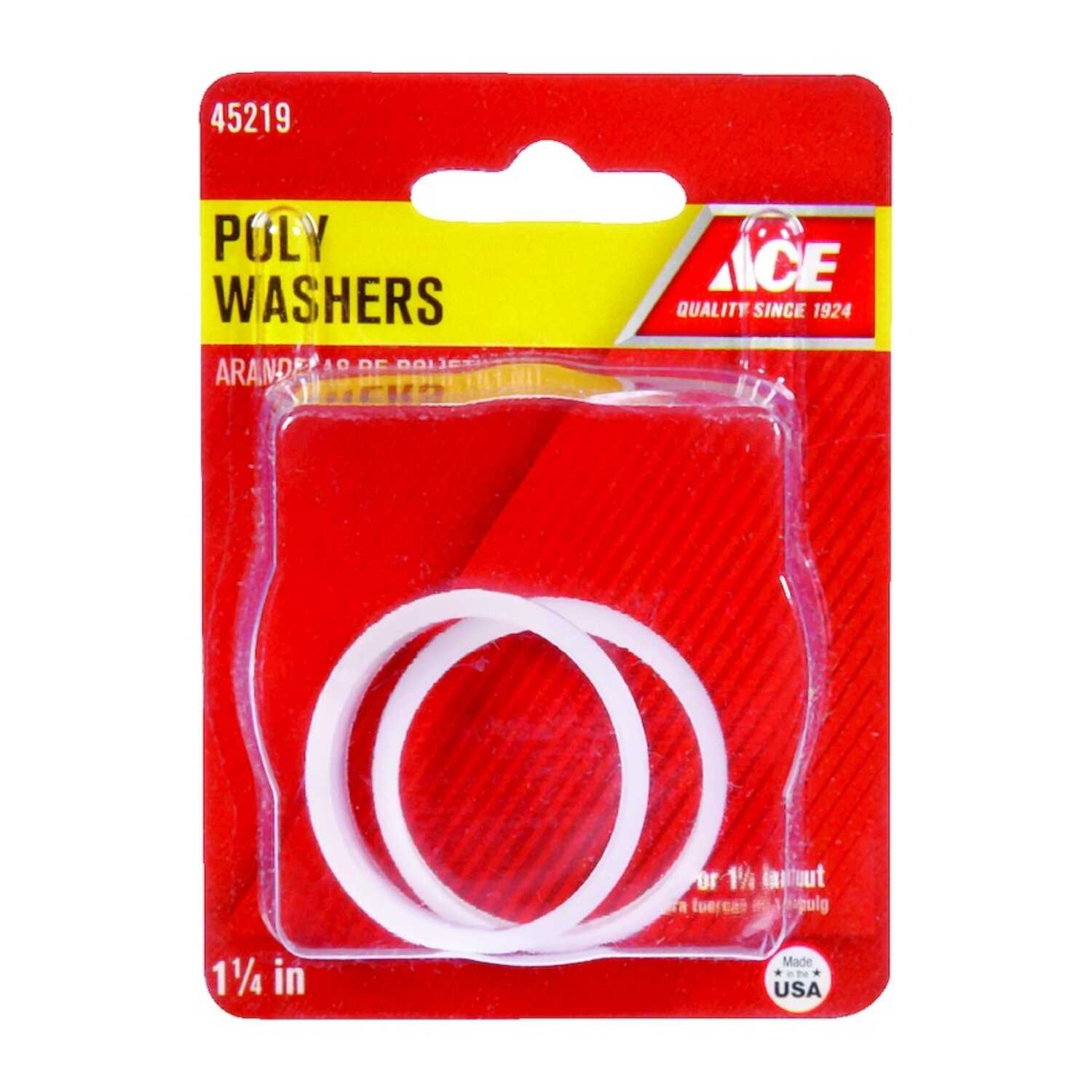 Ace  1-1/4 in. Dia. Plastic  Poly Washer  2 pk