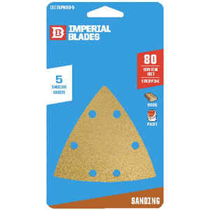 Imperial Blades  3-1/8 in. L x 3-1/8 in. W 80 Grit Emery  Vacuum Hole Sandpaper  5 pk