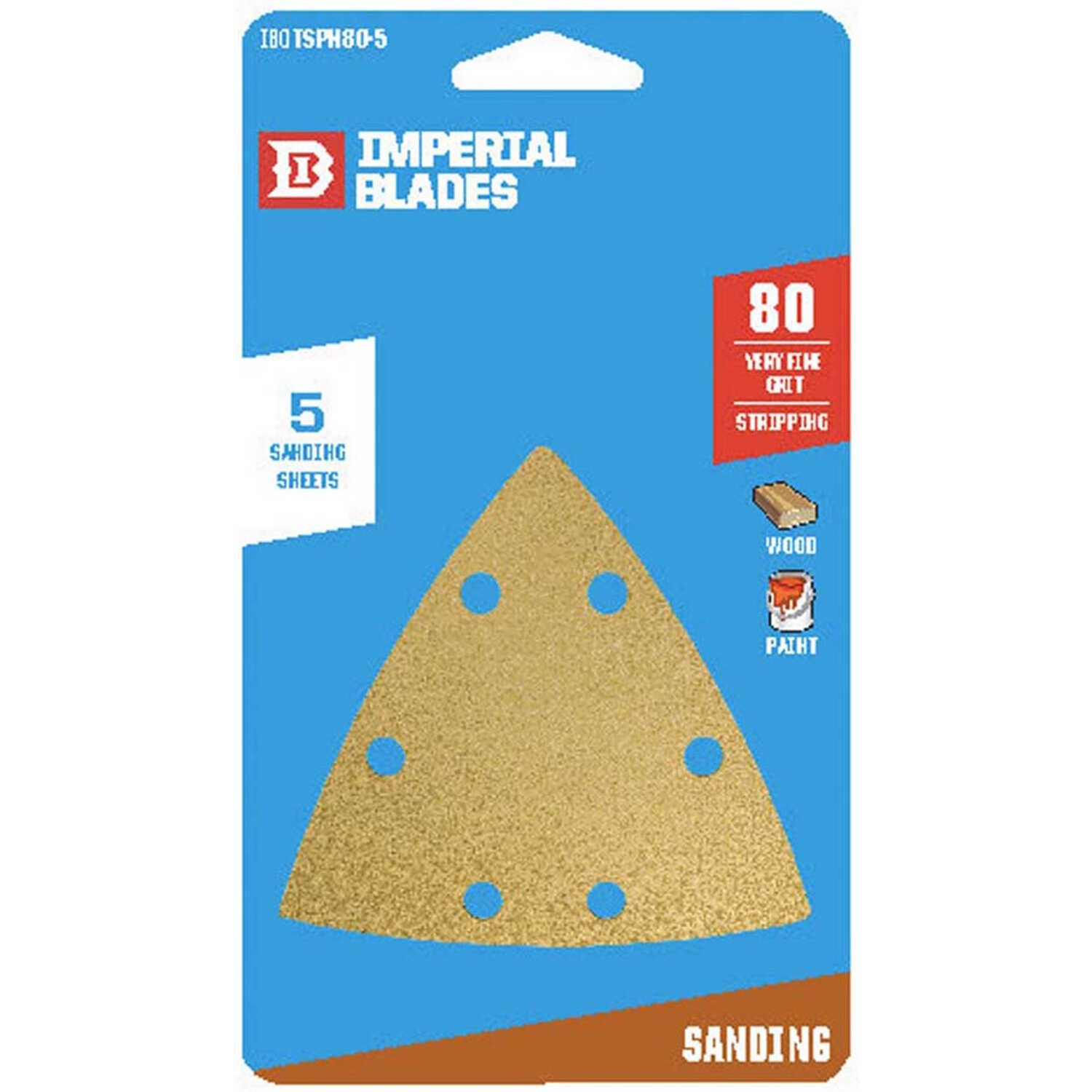 Imperial Blades  3 in. L x 2 in. W 80 Grit Coarse  Emery  Vacuum Hole Sandpaper  5 pk