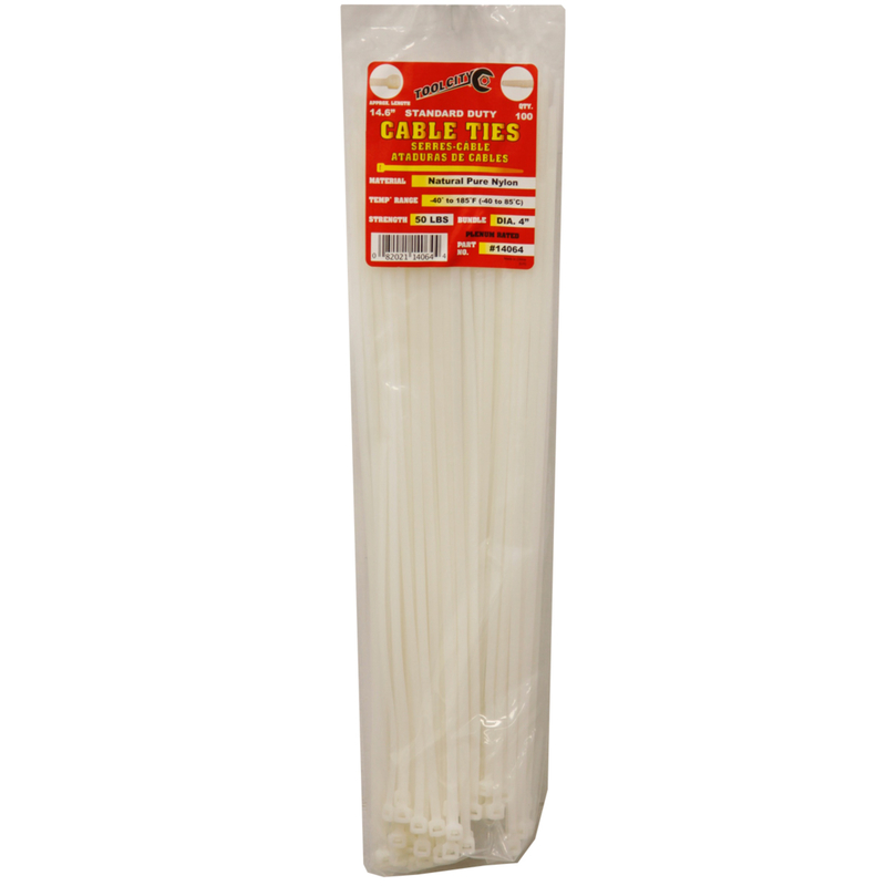 Tool City  14.6 in. L White  100 pk Cable Tie