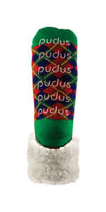 Pudus  Christmas Plaid  Slipper Socks  Acrylic/Polyester  1 pair