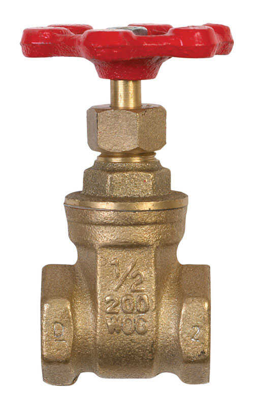 B & K  1/2 in. Dia. x 1/2 in. Dia. Brass  Gate Valve