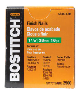 Bostitch  1-1/2 in. 16 Ga. Straight Strip  Finish Nails  Smooth Shank  2500 pk