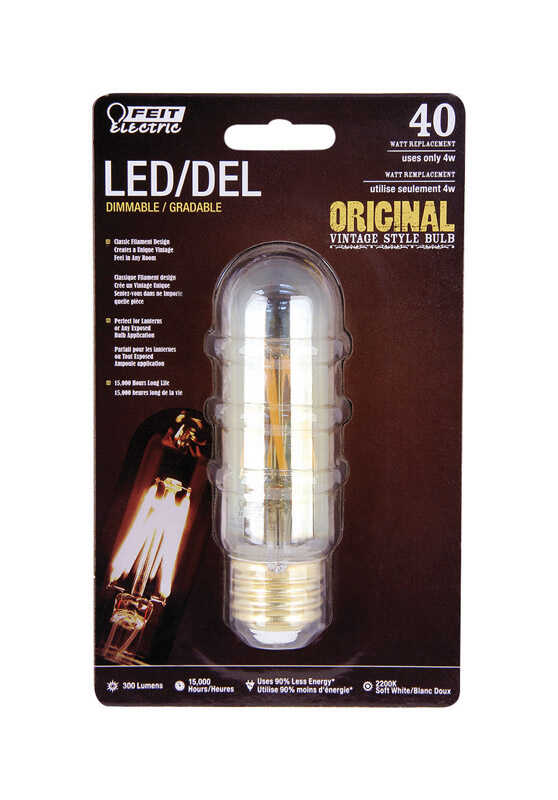FEIT Electric  Vintage Style  4 watts T10  LED Bulb  300 lumens Soft White  Decorative  40 Watt Equi