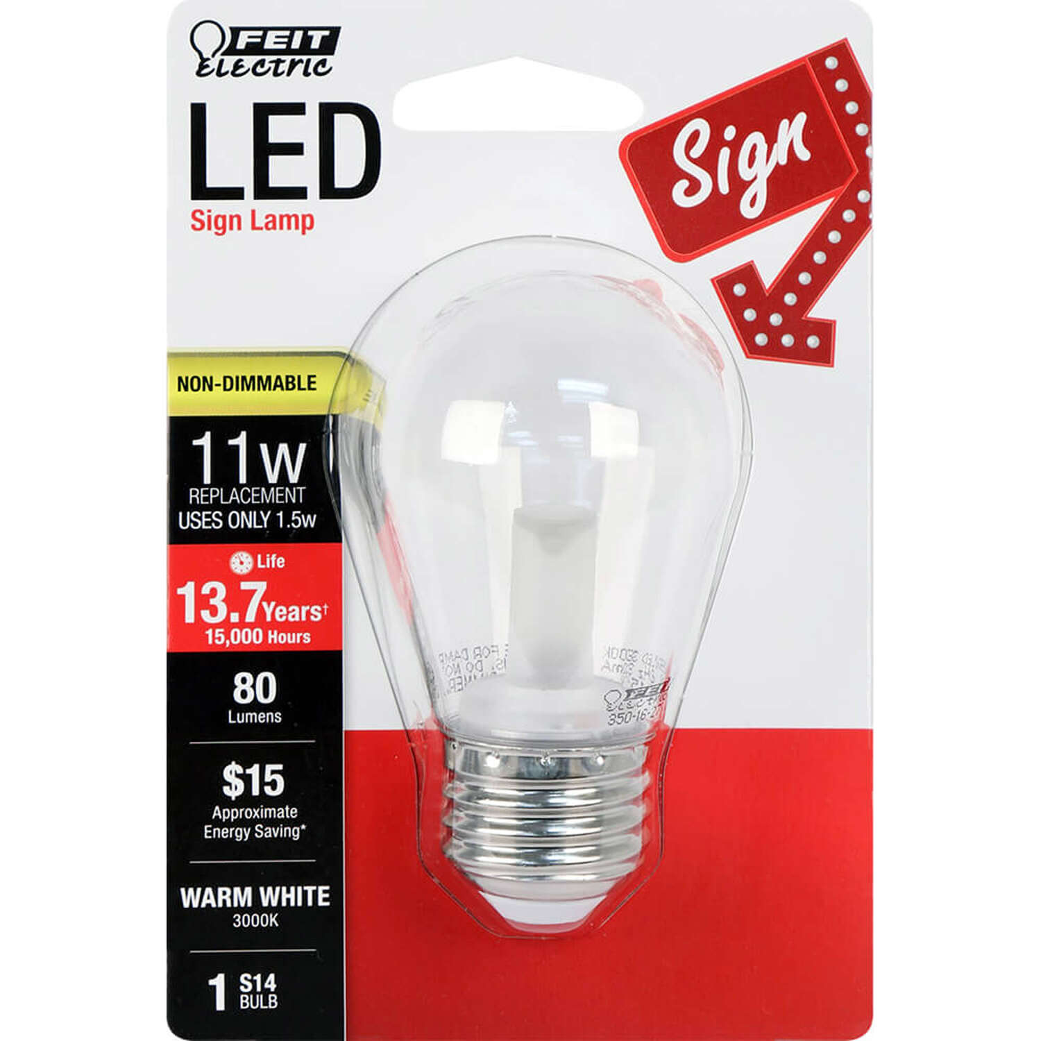 FEIT Electric  S14  E26 (Medium)  LED Bulb  Warm White  11 Watt Equivalence 1 pk