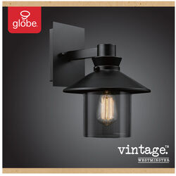 Globe Electric  Westminster  1-Light  Black  Vintage  Wall Sconce