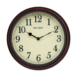 Westclox  15-1/2 in. L x 14 in. W Indoor  Classic  Analog  Wall Clock  Glass/Wood  Brown