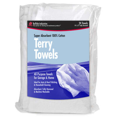 Buffalo  Cotton  Terry Towels  14 in. W x 17 in. L 24 pk