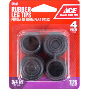 Ace  Rubber  Leg Tip  Black  Round  3/4 in. W 4 pk