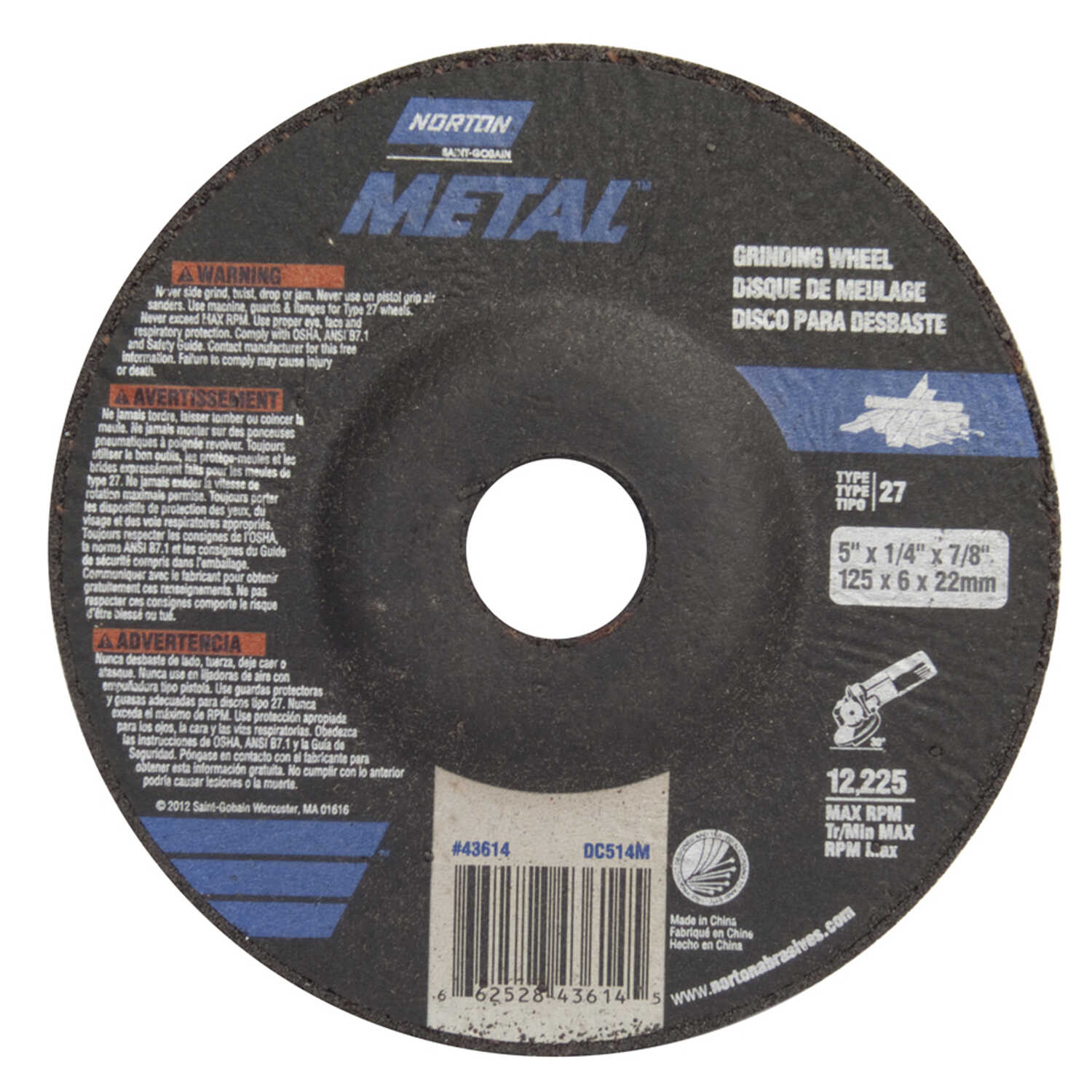Norton  5 in. Dia. x 1/4 in. thick  x 7/8 in.   Aluminum Oxide  Grinding Wheel  12225 rpm 1 pc.