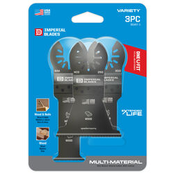 Imperial Blades One Fit 1-3/8 Dia. High Carbon Steel Variety Pack Oscillating Saw Blade 3 pk