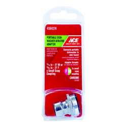 Ace  Dual Thread  15/16 in.-27 or 55/64 in.  Chrome  Dishwasher Adapter