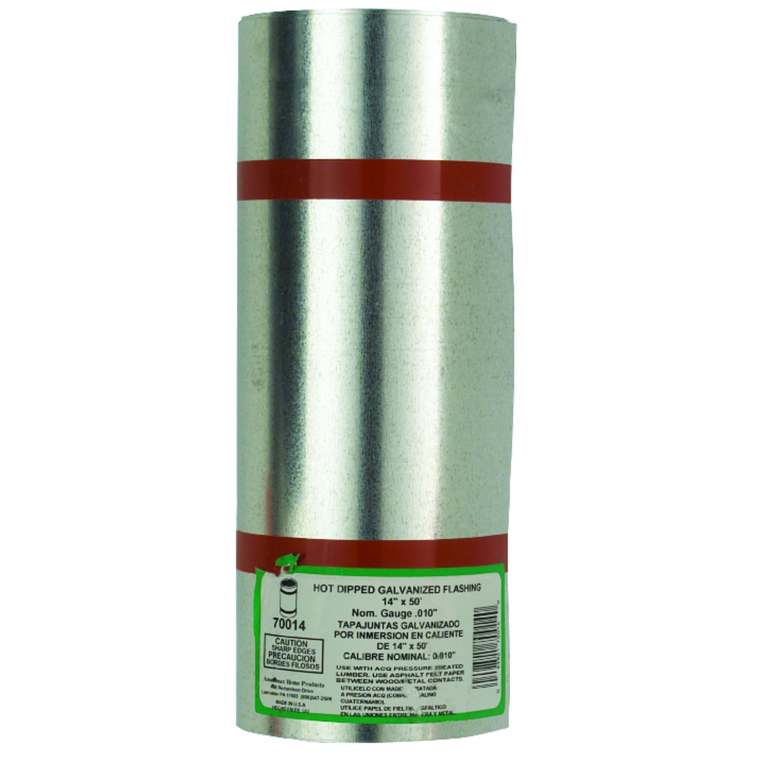 Amerimax  14 in. H x 14 in. W x 50 ft. L Silver  Galvanized Steel  Roll Valley Flashing  Cylindrical